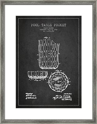 Poll Table Pocket Patent Drawing From 1916 Framed Print