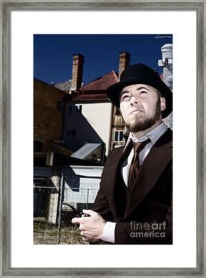 Pondering Detective Framed Print