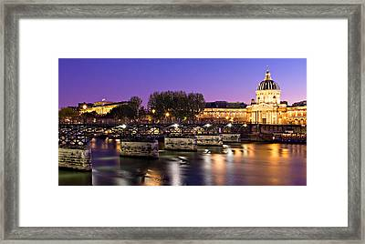 Framed Print featuring the photograph Pont Des Arts At Night / Paris by Barry O Carroll