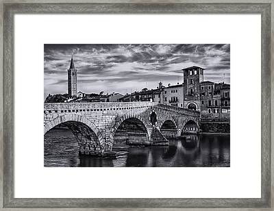 Ponte Pietra Verona In Black And White  Framed Print