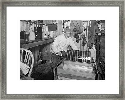 Ponting's Darkroom In Antarctica Framed Print by Scott Polar Research Institute
