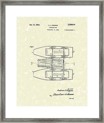 Pontoon Boat 1944 Patent Art Framed Print