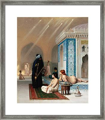 Pool In A Harem Framed Print by Jean-Leon Gerome