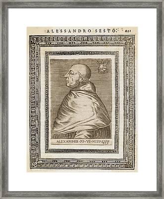Pope Alexander Vi (roderigo Borgia) Framed Print by Mary Evans Picture Library