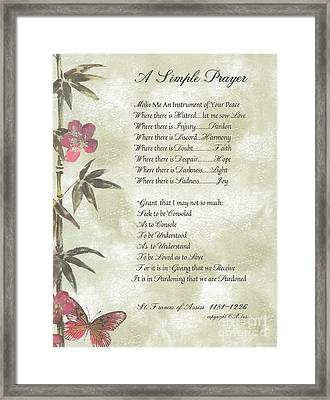 Pope Francis St. Francis Simple Prayer Butterfly Garden Framed Print by Desiderata Gallery