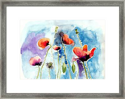 Poppies Field Poppy Watercolor Framed Print