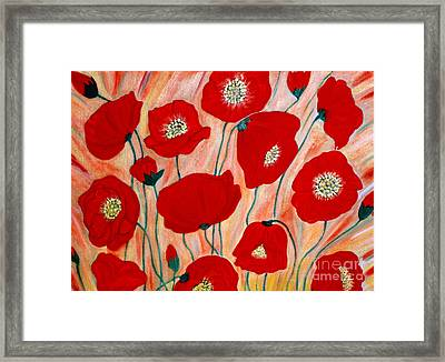 Framed Print featuring the painting Poppies. Inspirations Collection. by Oksana Semenchenko
