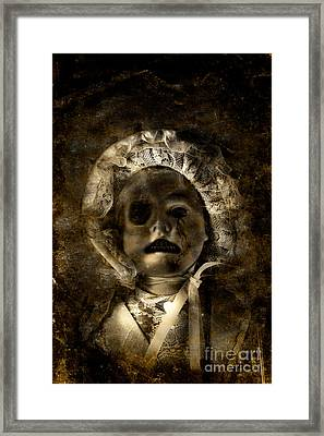 Porcelain Doll Crying Tears Of Cracks Framed Print