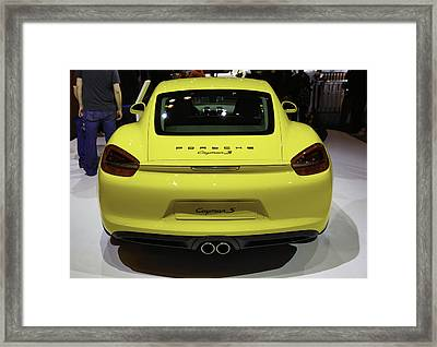 Porsche Cayman S Showcased At The New York Auto Show Framed Print by E Osmanoglu