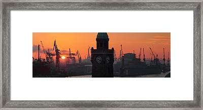 Port Of Hamburg Sunset Framed Print by Marc Huebner