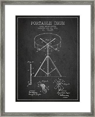 Portable Drum Patent Drawing From 1903 - Dark Framed Print