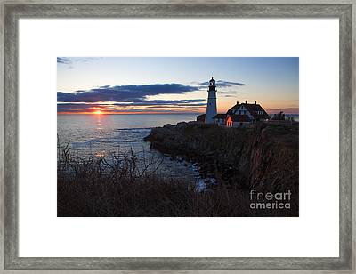 Portland Head Light At Dawn Framed Print