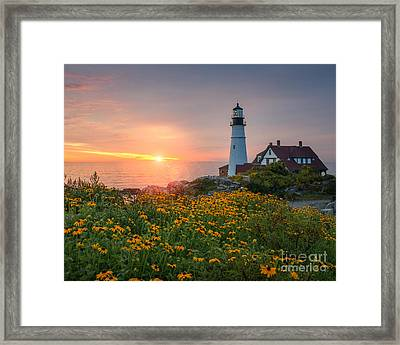 Portland Head Light Sunrise  Framed Print