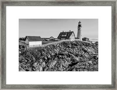 Portland Lighthouse Dawn Framed Print by Susan Candelario