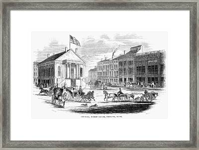 Framed Print featuring the painting Portland, Maine, 1853 by Granger