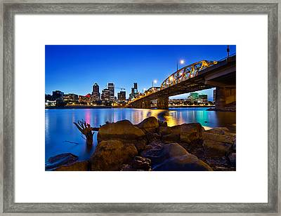 Framed Print featuring the photograph Portland Oregon Skyline At Blue Hour by JPLDesigns