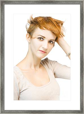Portrait Of A Beautiful Redhead Woman Framed Print