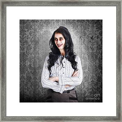 Portrait Of A Confident Dead Businesswoman Framed Print by Jorgo Photography - Wall Art Gallery