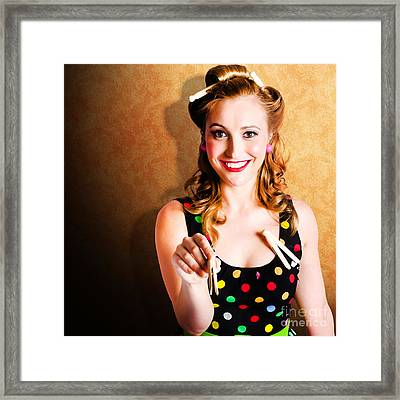 Portrait Of A Happy Pin Up Cleaning Woman Framed Print by Jorgo Photography - Wall Art Gallery