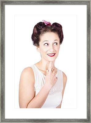 Portrait Of A Lovely Retro Woman With Clear Skin Framed Print by Jorgo Photography - Wall Art Gallery