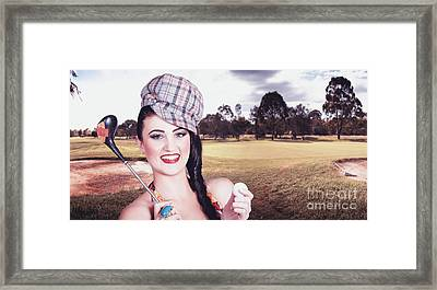 Portrait Of A Smiling Retro Female Golfer Framed Print by Jorgo Photography - Wall Art Gallery