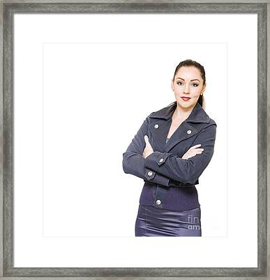 Portrait Of A Young Female Executive On White Framed Print by Jorgo Photography - Wall Art Gallery
