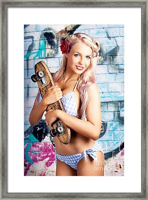 Portrait Of A Young Grunge Woman On Graffiti Wall Framed Print
