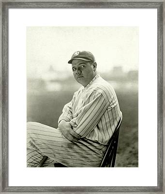 Portrait Of Babe Ruth Framed Print by Arnold Genthe