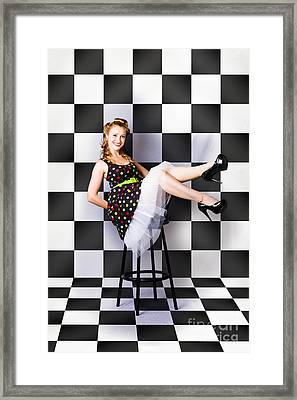 Portrait Of Beautiful Retro Woman In Vintage Style Framed Print