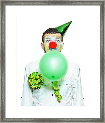 Portrait Of Birthday Clown Preparing To Party Framed Print by Jorgo Photography - Wall Art Gallery
