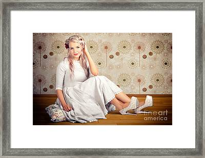Portrait Of Blonde Girl With Classic Fashion Style Framed Print by Jorgo Photography - Wall Art Gallery
