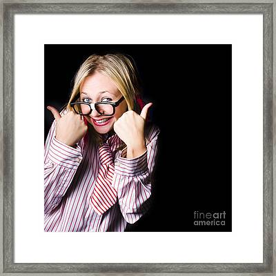 Portrait Of Businesswoman Gesturing Good To Go Framed Print by Jorgo Photography - Wall Art Gallery