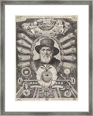 Portrait Of Dirck Volckertsz Coornhert In Allegorical Frame Framed Print