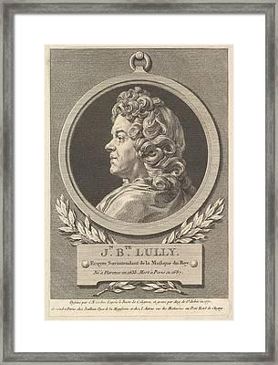 Portrait Of Jean-baptiste Lully Framed Print by Augustin de Saint-Aubin