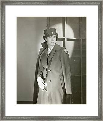 Portrait Of Katherine Blake In Her Red Cross Framed Print