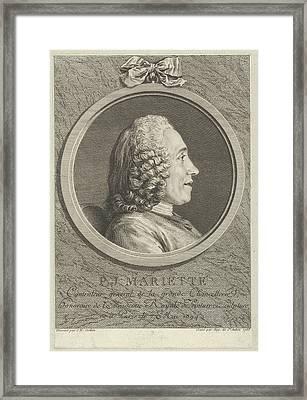 Portrait Of Pierre-jean Mariette Framed Print by Augustin de Saint-Aubin