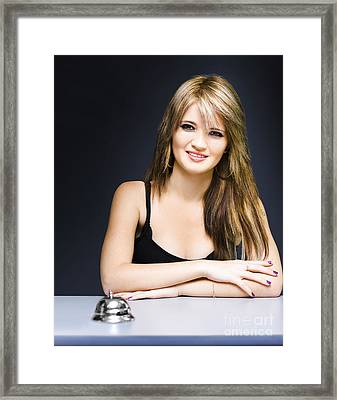 Portrait Of Secretary Sitting At Desk With Smile Framed Print by Jorgo Photography - Wall Art Gallery