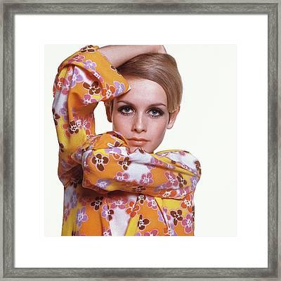 Portrait Of Twiggy Framed Print by Bert Stern