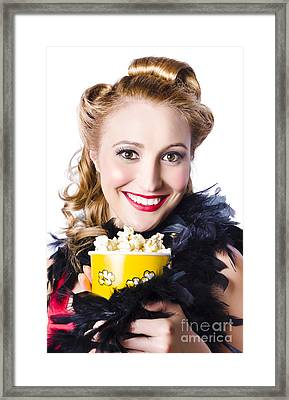Portrait Of Woman With Popcorn Framed Print by Jorgo Photography - Wall Art Gallery