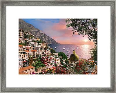Positano Framed Print by Dominic Davison