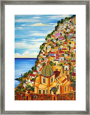 Framed Print featuring the painting Positano by Roberto Gagliardi