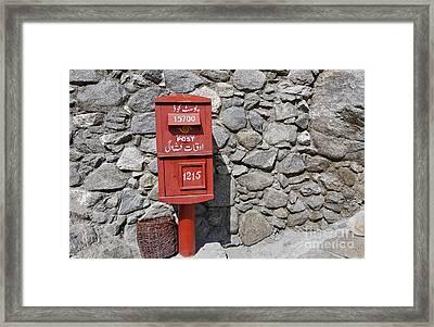 Post Box In Karimabad Framed Print by Robert Preston