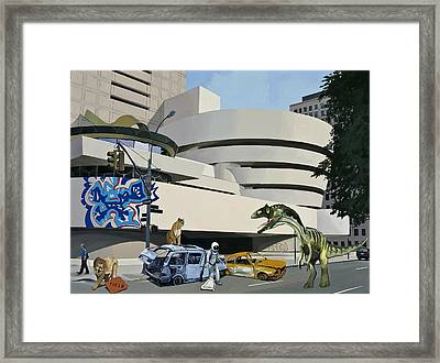 Framed Print featuring the painting Post-nuclear Guggenheim Visit by Scott Listfield