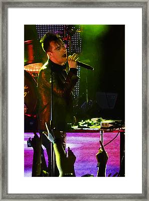 Posterized Brendon Urie Of Panic At The Disco Framed Print by Lesley DeHaan
