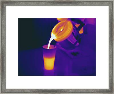 Pouring Hot Coffee, Thermogram Framed Print by Science Stock Photography