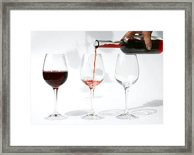 Pouring Red Wine Into Glass Framed Print