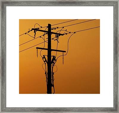 Power Line Sunset Framed Print by Don Spenner
