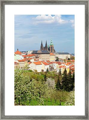 Prague - View Of Hradcany Castle Framed Print by Panoramic Images