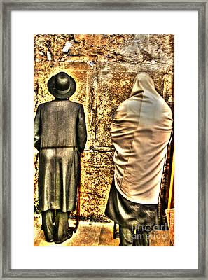 Framed Print featuring the photograph Praying At The Western Wall by Doc Braham