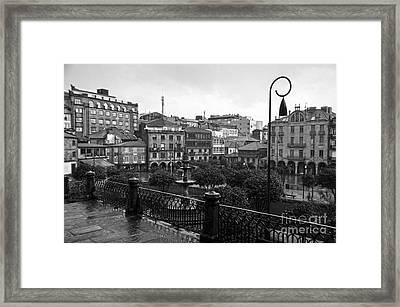 Praza Da Ferreria In Pontevedra Bw Framed Print